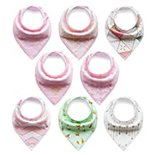 Baby Rarity Bandana Drool Bibs Absorbent Organic Soft Cotton Drool Bib for Teething Toddlers Infants Babies With Adjustable Snaps,8-Pack