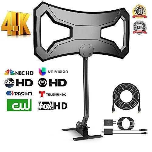 Price comparison product image OneSupply 150Miles Outdoor HDTV Antenna - Upgraded TV Antenna Long Range Omni-Directional Digital TV Antenna with Pole Mount for 4K/1080p/FM/VHF/UHF Free Channels High Definition RG6 Copper 32ft cable