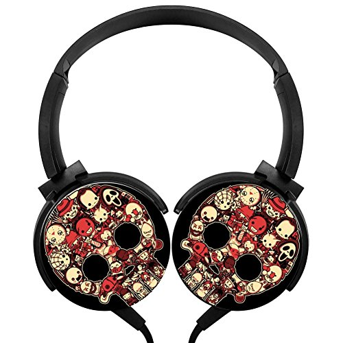 Bloody Lil Horrors Stereo Headphones Lightweight With Mic Over Ear, Cartoon Headsets For Iphone, Ipad, Smartphone And Tv 3.5Mm (Happy Halloween Slashers)