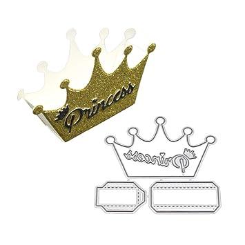 zmigrapddn Troqueles,Forma de princesa encantadora corona Troqueles de corte plantilla moldes para hacer álbumes de recortes Álbum Tarjeta de papel ...