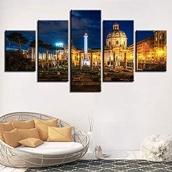Tipo de impresión Moderna Poster Canvas HD Wall Art Pictures 5 Panel Building Night Scene Modular Artwork Vintage Home Decor: Amazon.es: Hogar