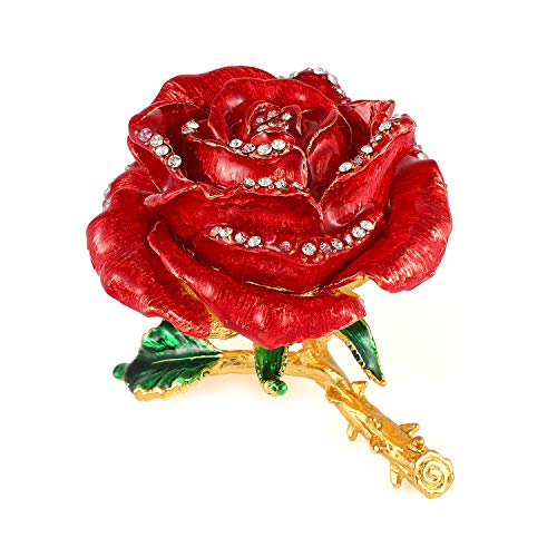 (QIFU Vintage Style Hand Painted Rose Shape Jewelry Trinket Box with Rich Enamel and Sparkling Rhinestones | Unique Gift Home Decor | Best Ornament Your Collection)