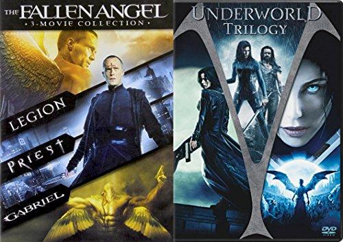 Underworld Trilogy + Fallen Angel DVD - movie Set - (Underworld / Underworld: Evolution / Underworld: Rise of the Lycans)(LEGION / PRIEST / GABRIEL)