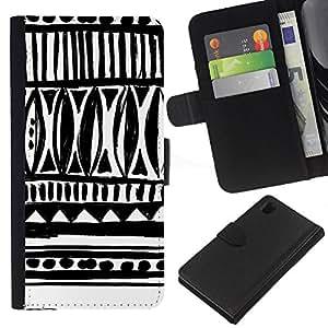 Sony Xperia Z1 / L39h / C6902 Modelo colorido cuero carpeta tirón caso cubierta piel Holster Funda protección - Drawn Ink Art White Black Chevron