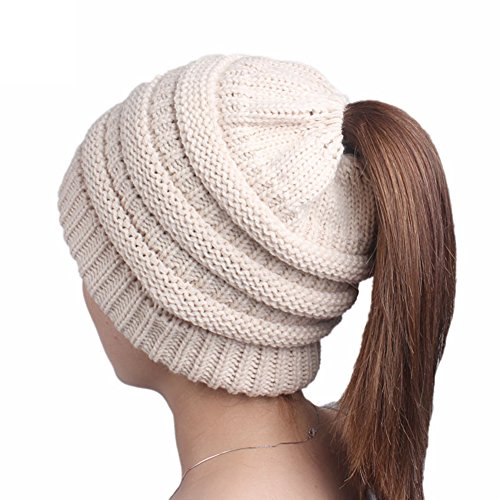 EUBUY Women Knitted Ponytail Beanie Hat Winter Warm Stretch
