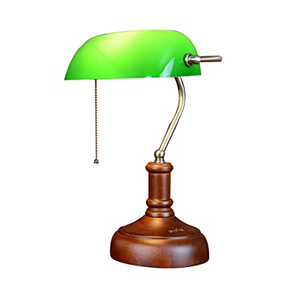 LQQGXL Classic Antique Banker Desk Lamp with Wooden Base and Green Glass  E27 Simple lamp - LQQGXL Classic Antique Banker Desk Lamp With Wooden Base And Green
