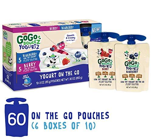 GoGo squeeZ YogurtZ, Variety Pack (Blueberry/Berry), 3 Ounce (60 Count), Low Fat Yogurt Gluten Free, Healthy Snacks, Recloseable, BPA Free Pouches (The Best Yogurt Brand)