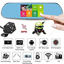 Vinjeely 5 Inch Touch Screen Quad Core Full HD 1080P Car DVR +Wifi +Backup Camera Dual Lens Support GPS G-sensor 170° Wide Angle Lense Car Rearview Mirror Camcorder Vehicle Video Dashboard Camera Recorder Dash Cam With Android 4.0