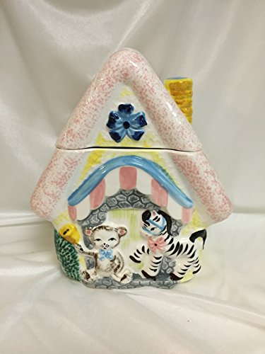 Ucagco House Cottage Cookie Jar Zebra Teddy Bear Vintage for sale  Delivered anywhere in USA