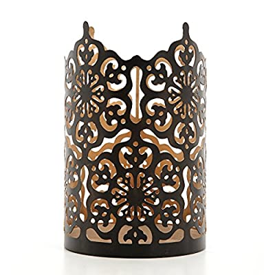 """Hosley Flower 7"""" High Cut Bronze LED/Votive/Tealight Holder/Lantern. Ideal Gift for Wedding, Party, Use with Jar Candles, Tea Lights, Votive Candle Gardens, Aromatherapy, Spa O4"""