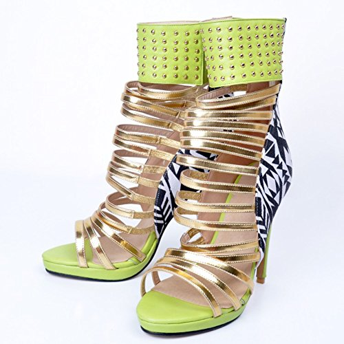 High Shoes Womens Heel Ankle Fashion Green Style Sandals Wrap Hollow 12cm Kolnoo Handmade Stiletto wS7dqw8