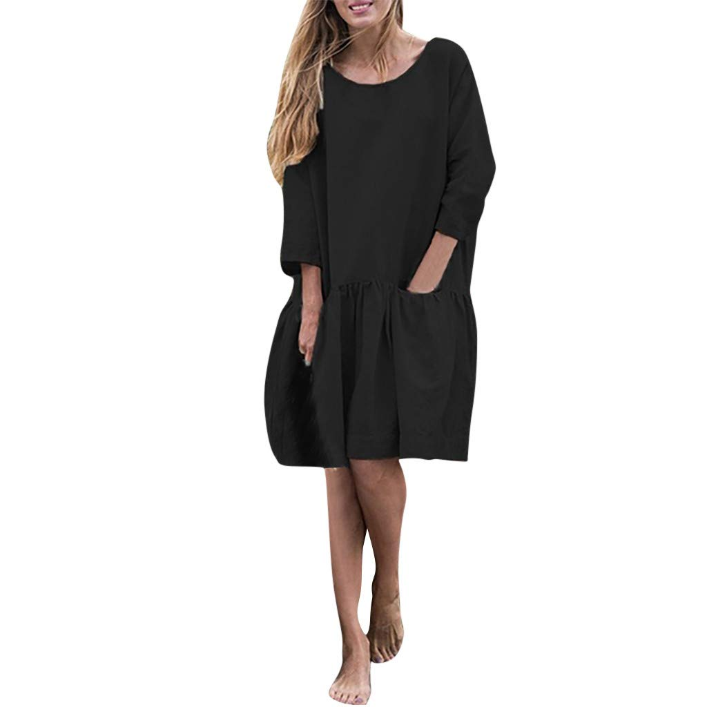 Womens Plus Size Linen Loose Blouse Dress O-Neck 3/4 Sleeve Button Back Mini Dresses with Pocket,S-5XL (XL, Black) by Women Dresses Hechun