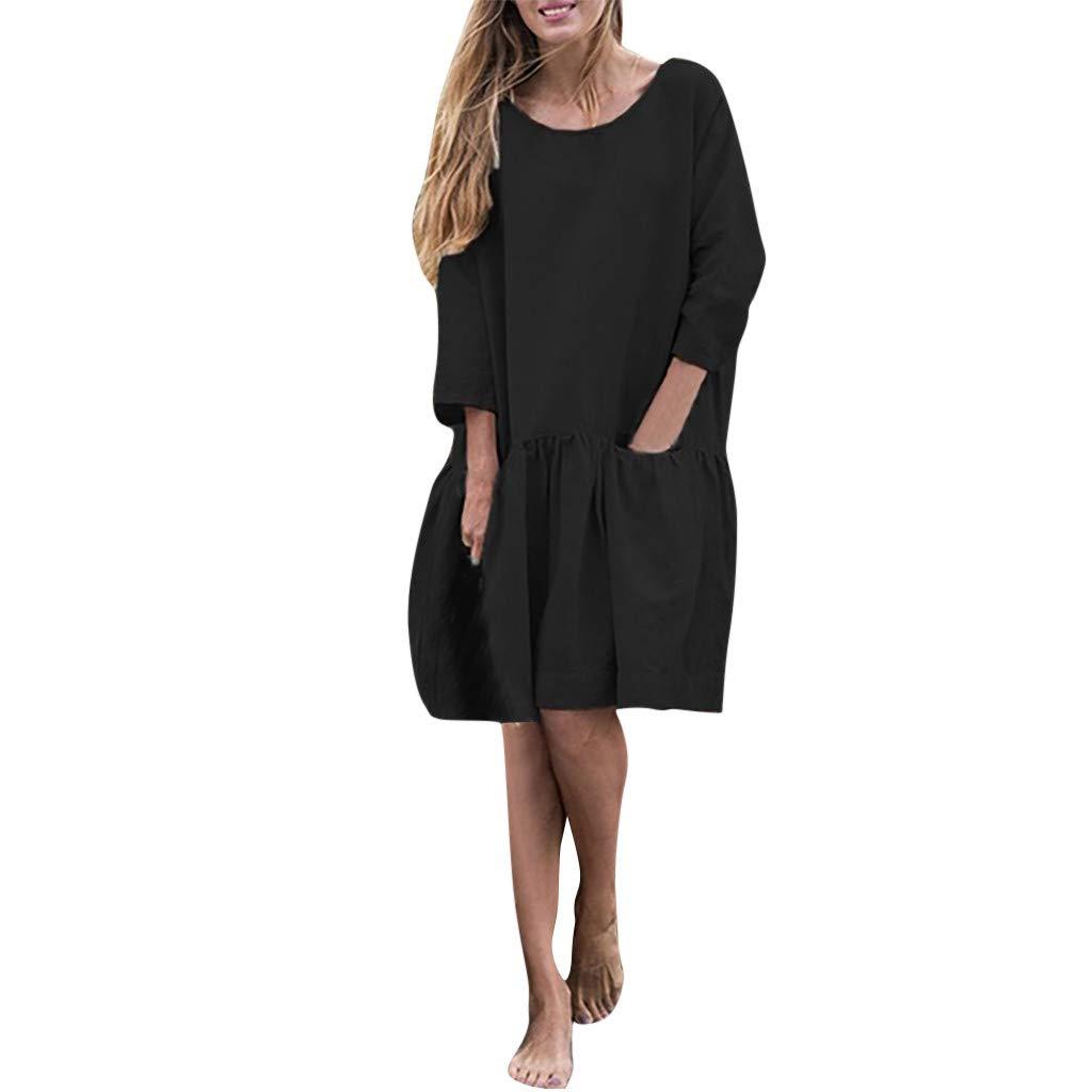 FarJing Women Casual Loose O Neck 3/4 Sleeve Ruffle Swing Solid Color Mini Dress(4XL,Black