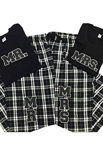 Zynotti Mrs. Couple Matching Black and White Flannel Plaid Pajama Lounge Sleep Pants - Small