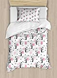 Lunarable Panda Duvet Cover Set Twin Size, Childrens Cartoon Style Bear Drawings with Pink Foliage Leaves Chinese, Decorative 2 Piece Bedding Set with 1 Pillow Sham, Pale Pink Rose Black