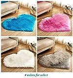 Heart Shaped Soft Faux Sheepskin Fur Area Rugs for