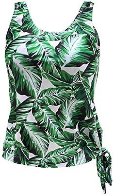 Gabrielle-Aug Women's Floral Stripe Blouson Tankini Top Swimsuit(FBA)