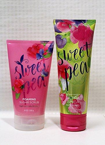 Bath & Body Works - Signature Collection - Sweet Pea - Foaming Sugar Scrub (8 oz.) & Ultra Shea Body Cream (8 oz) Gift Set