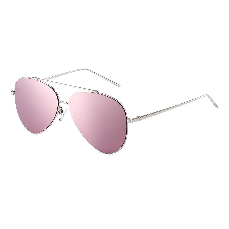CAXMAN Unisex's Aviator Metal Frame Sunglasses Nylon Mirror Lens for Men Women
