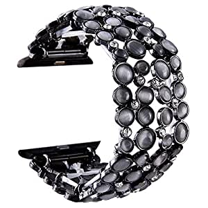 VIQIV Bling Bands for Compatitle Apple Watch 38mm 40mm 42mm 44mm Iwatch Series 4 3 2 1, Diamond Bracelet Metal Jewelry Wristband Strap for Women, womens, Black, 38mm (Small Fit Wrist Size 5.9-6.3 Inch)