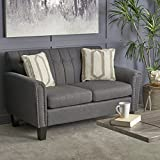 Christopher Knight Home 303938 Jacopo Traditional Fabric Loveseat, Dark Grey/Dark Brown