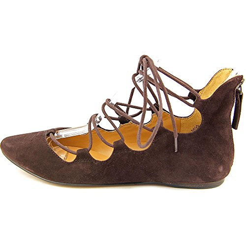 Nove West Womens Signmeup In Pelle Scamosciata Balletto Piatto Marrone Scuro