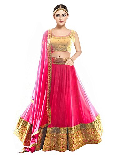 5be2601af9 Shree Gel Fashion Women's Silk Embroidered Lehenga, Choli and Dupatta Set ( Pink, Gold, Free Size): Amazon.in: Clothing & Accessories