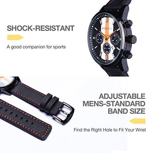 KONXIDO Mens Sports Watches Military Waterproof Big Face Analog Leather Band Wrist Watch Orange by KONXIDO (Image #4)