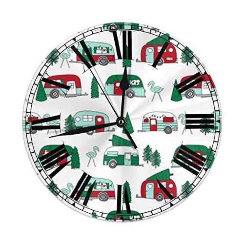 TMVFPYR Christmas Vintage Caravan Wall Clock Silent & Non-Ticking Round Clock Quiet Desk Clock for Home Office School