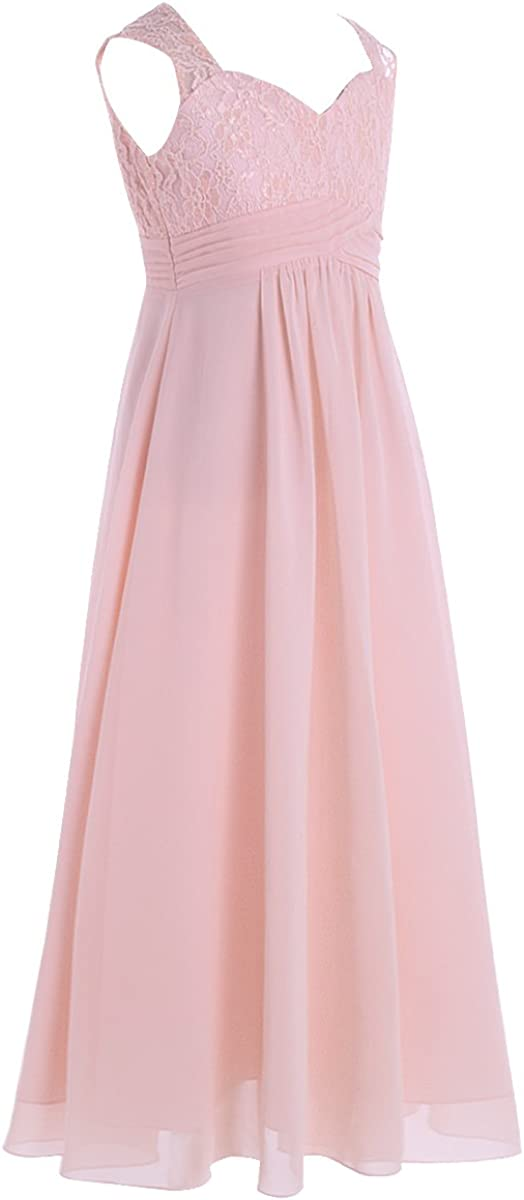 inhzoy Kids Princess Flower Girl Dress Flowy Chiffon Floral Lace Maxi Skirt Wedding Bridesmaid Formal Gowns