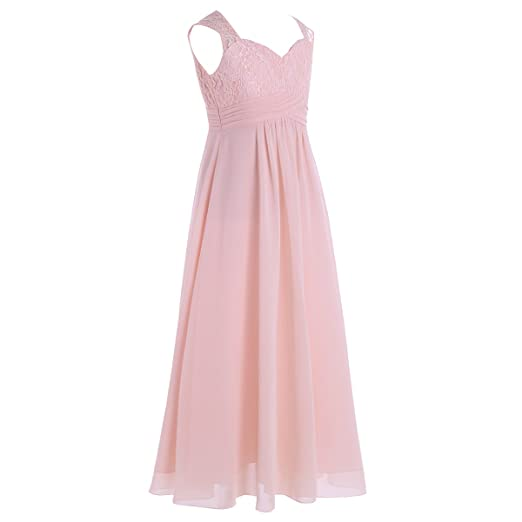 Freebily Girls Kids Sleeveless Floral Lace Junior Bridesmaid Dress Wedding Party Ball Prom Long Evening Gowns: Amazon.co.uk: Clothing