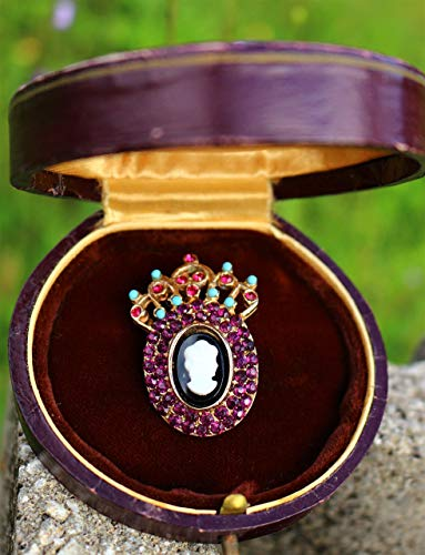 age style purple blue rhinestones resin cabochon BROOCH by Inga Engele made in USA 36mm x 25mm ()