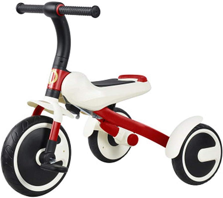 HYDDG Triciclos Niño Triciclo 3-6 Años Antiguo Bebé Plegable Preescolar Bicicleta Portátil Bicicleta Niños Color : Blanco