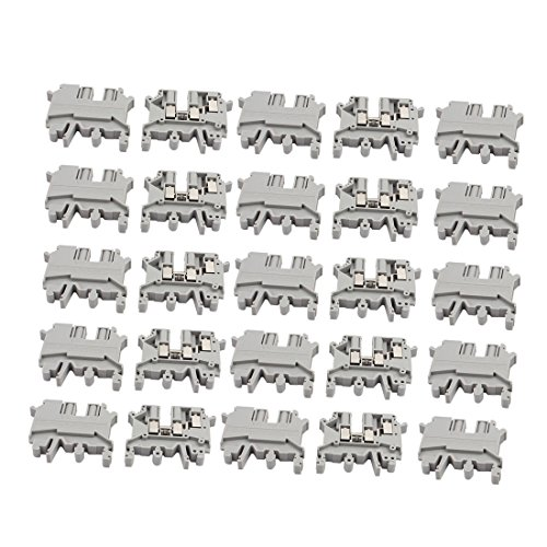 uxcell 25Pcs UK-5TWIN DIN Rail Mount One Inlet Double Outlet Terminal Block 500V 32A Double Din Adaptors