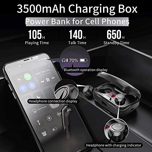 Wireless Earbuds, AIKELA True Bluetooth Wireless Headphones Bluetooth 5.0 in-Ear Earbuds with LED Display 3500mAh Charging Case, Stereo HiFi Sound & HD Mic Bluetooth Earphones IPX7 Waterproof for iOS and Android Device