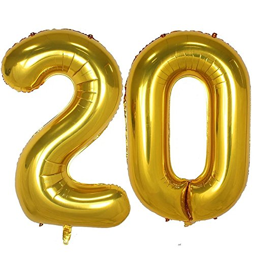 Partigos 40inch Gold Number balloon Party Festival Decorations Jumbo foil helium balloons party supplies use them as Props for Photos (40inch gold number (Numbers On Balloons)