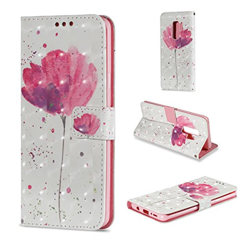 Galaxy S9+ Case, For [S9 Plus] MerKuyom [Special 3D][Wrist Strap] [Kickstand] Premium PU Leather Wallet Pouch Flip Cover Case For Samsung Galaxy S9 Plus / S9+, W/ Stylus (White Pink Flower) (Rainbow Leopard Bling)