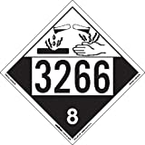 Labelmaster ZEZ43266 UN 3266 Corrosive Hazmat Placard, E-Z Removable Vinyl (Pack of 25)