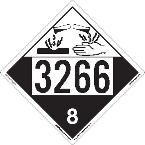 Labelmaster ZEZ43266 UN 3266 Corrosive Hazmat Placard, E-Z Removable Vinyl (Pack of 25) by Labelmaster®