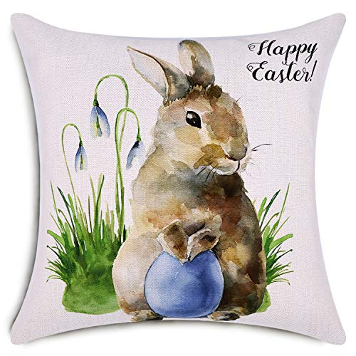 Smiry Happy Easter Throw Pillow Covers Watercolor Bunny and Egg Easter Decorative Cushion Cover Home Decoration Cotton Linen Pillowcases 18 x 18 Inch