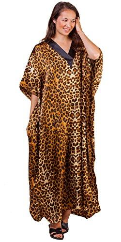 Winlar Satin Kaftan - Satin Charmeuse Caftan Loungers In Wild Cheetah (One Size Fits Most, Black/Bronze) (Dress Charmeuse Kimono)