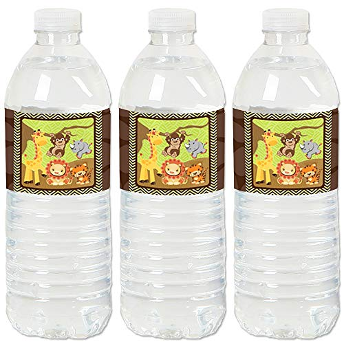 Funfari - Fun Safari Jungle - Baby Shower or Birthday Party Water Bottle Sticker Labels - Set of 20