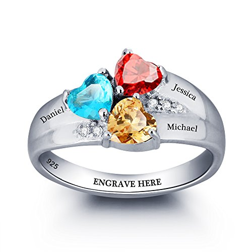 Design Your Own Mothers Ring with 3 Childrens Simulated Birthstone Engraved 3 Names Mom Jewelry Gifts (6)