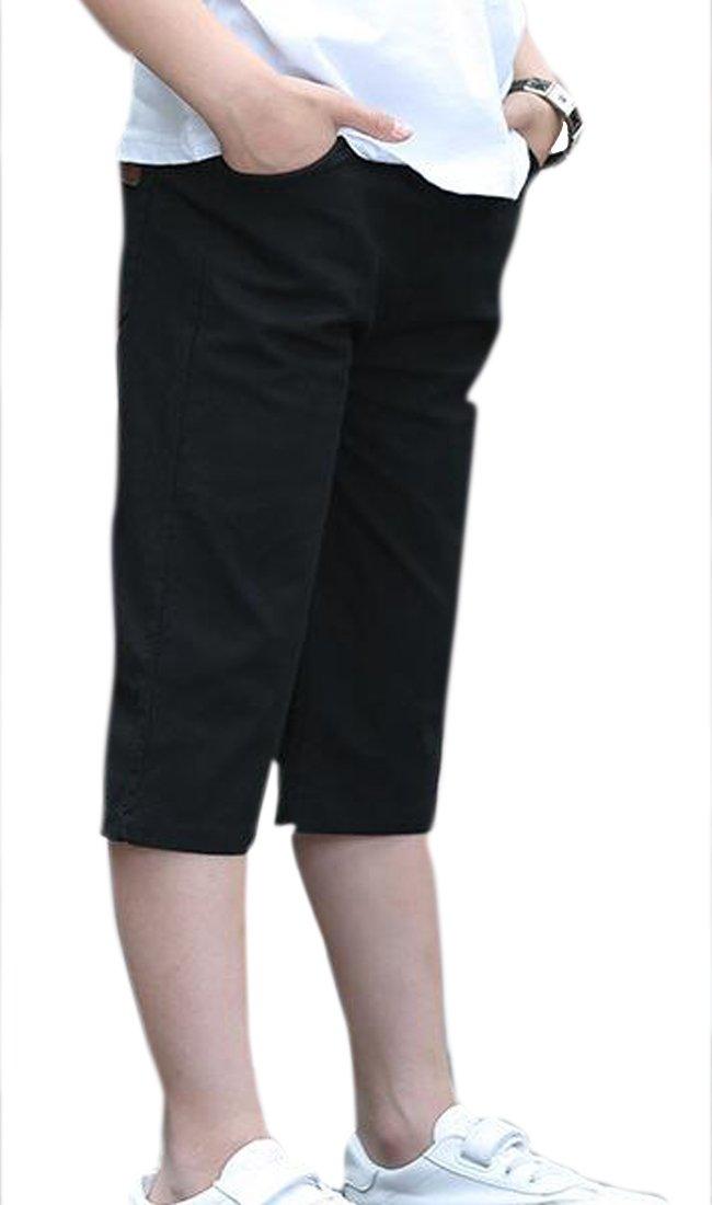 JuJuTa Boy's Summer Slim Fit Thin Comfy Capri Length Casual Children Classic Shorts Black 17