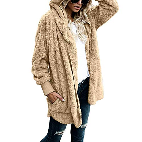 Automne Longues Capuche S Manches Veste Vêtements Femme Hiver Peluche De D'extérieur Chaud xxxl Manteau Abricot Cardigan En 6qORtw00S