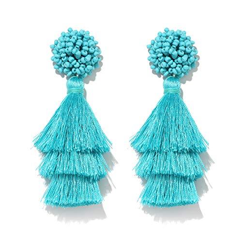 HEIDKRUEGER Layered Tassel Earring Bohemian Lightweight Colorful Tiered Thread Long Fringe Tassel Drop Dangle Beaded Statement Stud Earring Women Gifts (Blue)