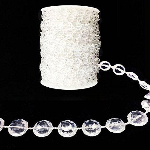 - 99 FT Colourful Garland Diamond Strand Acrylic Crystal Bead Beaded Wedding Decoration (Transparent)