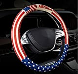 united states flag wheel cover - Automotive Ethnic Flax Cloth United States Flag Universal Car Steering Wheel Cover 38cm 15