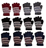 excell Mens and Womens Warm And Stretchy Winter Gloves (Womens 12 Pairs Assorted Striped)