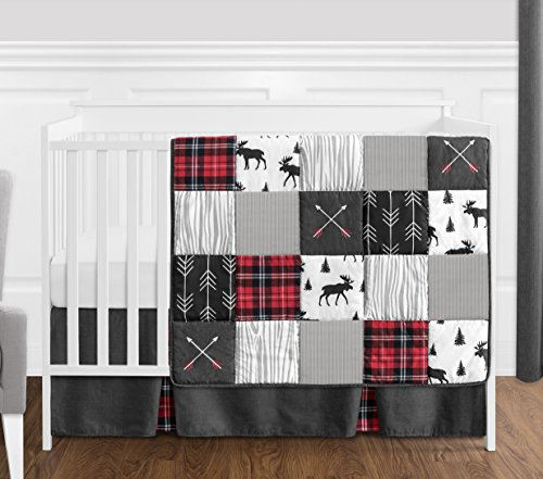 Crib Bedding Boy (Sweet Jojo Designs Grey, Black and Red Woodland Plaid and Arrow Rustic Patch Baby Boy Crib Bedding Set Without Bumper - 4 Pieces - Flannel Moose Gray)